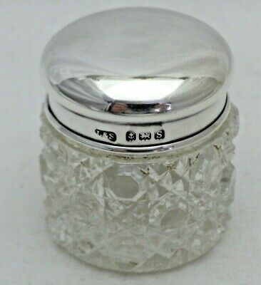 Antique Sterling Solid Silver Lidded & Cut Glass Jar L & S 1917 (1290/A/YVL)