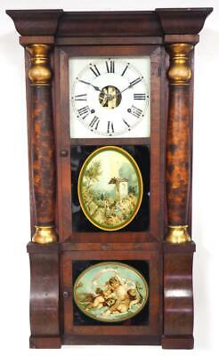 Antique Seth Thomas Wall Clock Rosewood Case Painted Glass Dial Double Door 1870