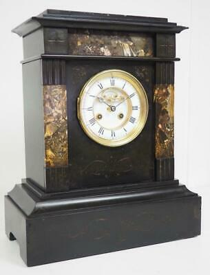 Antique 8 Day French Mantel Clock Gong Striking Classical Slate Mantle Clock