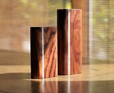 """4"""" Honduras Wood Dugout with One Hitter- Slider Lid, Pearl Inlay- Perfect Gift"""