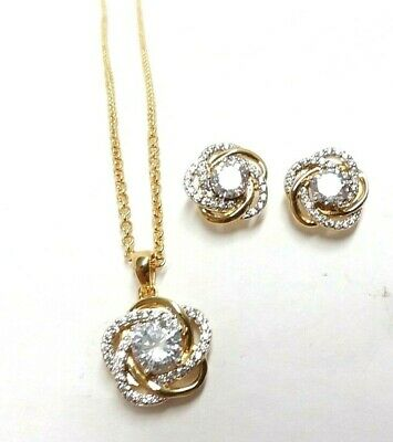 Dansbury Mint 14kt Gold Platedc Perfectly Paired Love Knot Pendant & Earrings