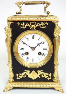 Incredible French 8 Day Mantel Clock Ebony & Ormolu Officer Carriage Clock C1900