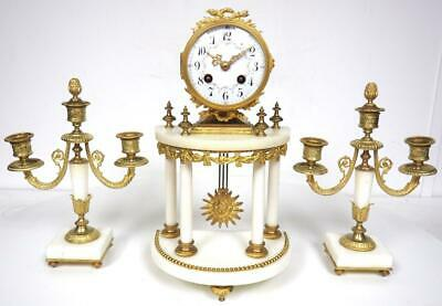 Incredible French 8 Day Mantel Clock White Marble Ormolu Portico Candelabra Set