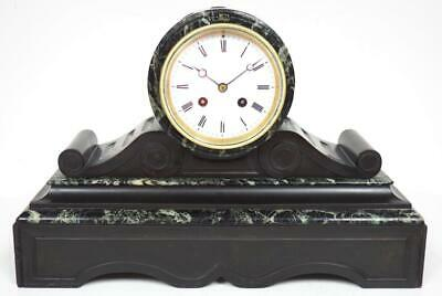 Incredible French 8 Day Mantel Clock Slate & Marble Cased Drum Head Mantle Clock