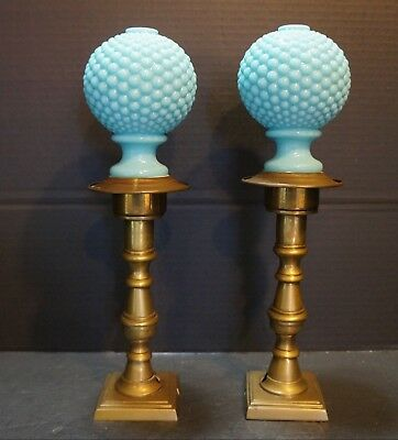 Victorian Blue Glass Hobnail Brass Newel Post Finials 1840-1870