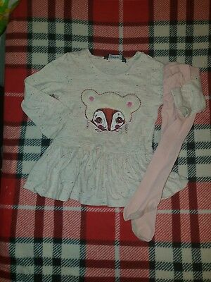 Girls 12-18 Months Bundle Top Dress Tunic & tights outfit fox Spotted Next Day