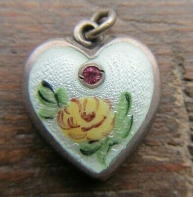 Vintage Walter Lampl NOVEMBER Puffy Heart Charm~Sterling Silver Guilloche