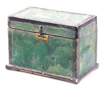 China Ming Dynasty 1368-1644 Ad Green Glazed Earthenware Box Chest With Lid