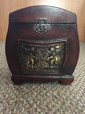Antique / Vintage Wooden Jewelry Box Miniature Chest Trunk with Cherubs