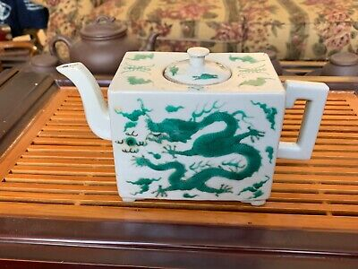 A Old (Qing Dynasty?) Chinese White and Green Glazed Dragon Teapot