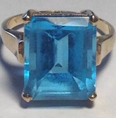 Women's Carribean Topaz 14KYG Ring Sz 4.25