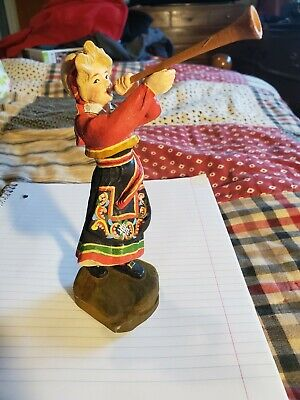 "Pillar-Guri  Wooden Figurine Hand Carved By Henning In Norway 6.5"" Vibrant Color"