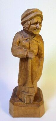 "Vintage CARVED WOMAN with BROOM FIGURINE by CARON Quebec Canada Folk Art 6"" Tall"