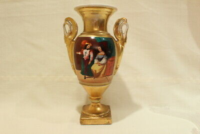 Antique French Porcelain Vieux Paris Vase Urn Hand Painted Gold Gilt XIX