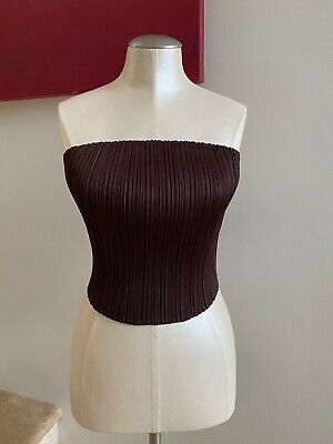 NWOT PLEATS PLEASE ISSEY MIYAKE Pleated Sleeveless Crop Top Blouse Brown O/S