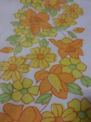 2X Retro Vintage Orange Yellow Green And White Floral Cotton Pillowcases..