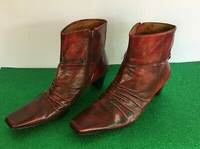 Bresley burgundy and black leather ankle boot with square toe - Size 45 - 10.5 A