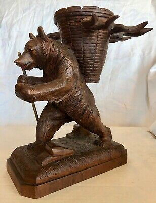 Wonderful Antique Black Forest Carved Wood Bear Liquor Stand