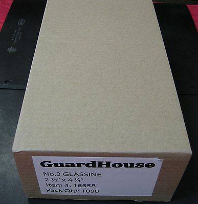 "GUARDHOUSE BRAND GLASSINE ENVELOPE SIZE #3. BOX OF 1000 COUNT. 2 1/2"" x 4 1/4"""