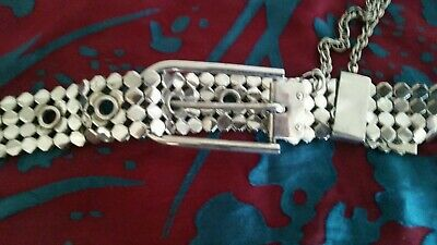 Vintage Silver Rare Hexagon Chained Belt.