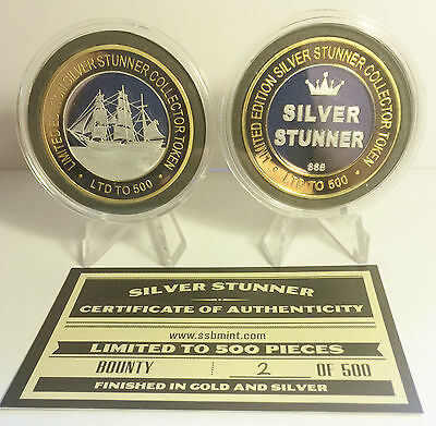 """BOUNTY 43mm """"SILVER STUNNER"""" C/TOR TOKEN,COIN C.O.A. Only 500, $50 at Mint"""