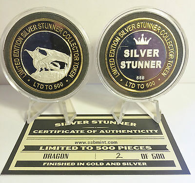 """NEW Dragon 43mm """"SILVER STUNNER"""" TOKEN/COIN, C.O.A. 500 Made $50 at Mint"""