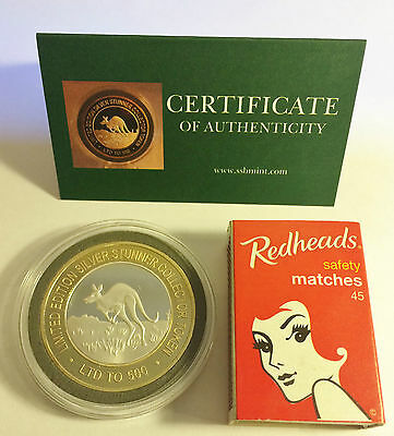 """KANGAROO 43mm """"SILVER STUNNER"""" C/TOR TOKEN,COIN C.O.A. Only 500, $50 at Mint"""