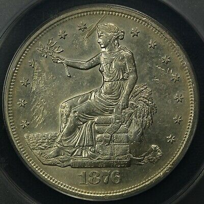 1876 S Chopmark Trade Silver Dollar ANACS AU 55 Details - Damaged & Cleaned