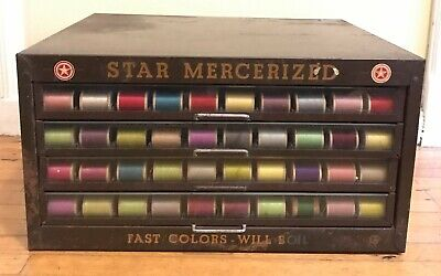Antique Star Mercerized 4 Drawer Advertising Metal Glass Fronts Spool Cabinet