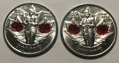 Lot of 2 - Canada 2010 Second World War Poppy 25 Cents Coloured Coins