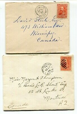 Newfoundland - St Johns 1901 / 1906 - Pair of Covers to Winnipeg / Montreal -