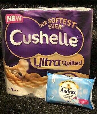Cushelle Toilet Roll x9 + Free 40 Andrex Wipes