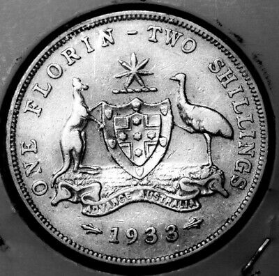 1933 Australian Florin 2/- Scarce Fine+ Pearls, Feathers and Grass.Circulated