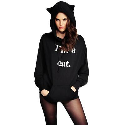 Stylish Women Casual Loose Hooded Long Sleeve Letters Print Swweatshirt B44G