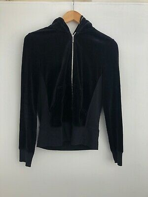 Juicy Couture Black Velour Jacket with hoodie Size M-L