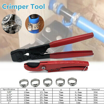 Pex Plumbing Kit Crimper Tool Lock Hook Cutter Pipes Stainless Steel Cinch Clamp