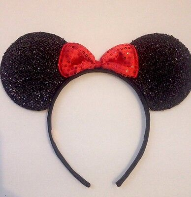 1pc Minnie Mouse Rouge Bow-Mickey Souris Serre-Tête Oreilles Shimmer Ears-Disney