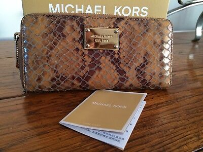 Michael Kors snakeskin leather python leather continental wallet purse