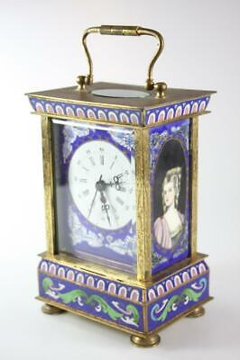 Vintage Chinese Cloisonne Enameled Carriage Export Clock