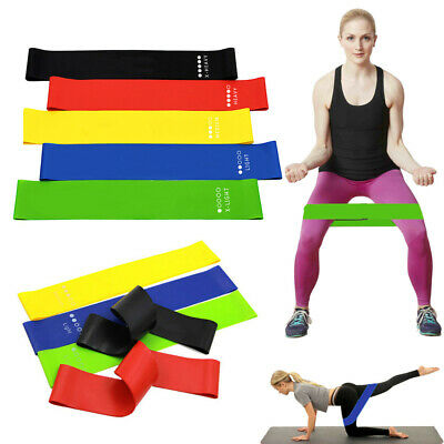 Resistance Bands Set or Singles Exercise Glutes Yoga Pilates Home Gym Workout UK