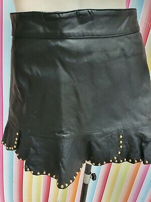 Faux Leather Skirt with Gold Studs Back Zipper.