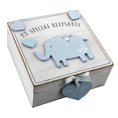 Baby Boy Wooden Keepsake Box - Blue Elephant - 7.5 x 16 x 16.5 cm