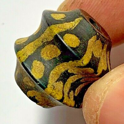 MUSEUM QUALITY PHOENICIAN GLASS COLOURED HUGE BEAD CIRCA 1000-700 BC 15.6gr 23mm