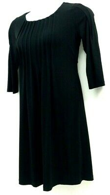 Calvin Klein Size 4 Fit & Flare Dress  Ridge Front Black Stretch Womens