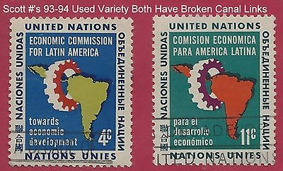"""UN Scott #93-94 Used Broken Canal Links """"Variety"""" Mint Never Hinged"""
