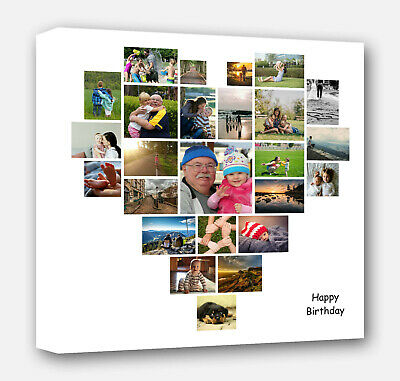 Personalised Heart Shape Collage Canvas Picture Prints - wedding birthday gift