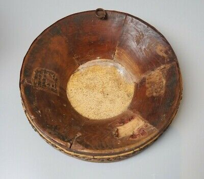 Good Antique 19Th Century Chinese Carved Wooden Hand Drum With Old Labels V Rare