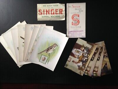14 Piece lot, Singer Sewing Machine pins, cards, drawing book, bird cards, good