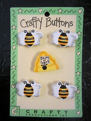 Wooden Buttons by Crafty Buttons Bumblebees and Hive