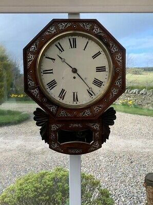 Antique Mahogany Drop Dial Fusee Wall Clock Circa 1860's Mother Of Pearl Inlaid.